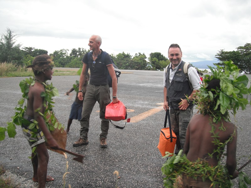 Enrico and Paolino during their arrival at Nusatupe airstrip