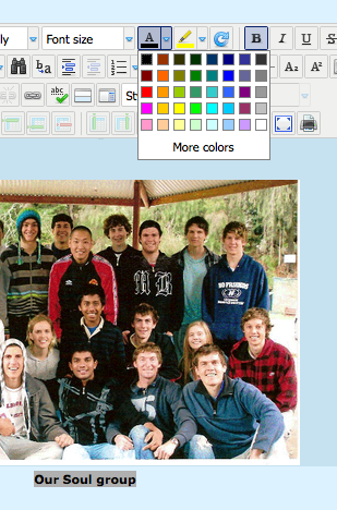 set colour caption
